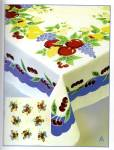 Click here to enlarge image and see more about item vintagecherries: Vintage Pattern Cherry w Blue Trim Tablecloth
