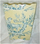 Click here to enlarge image and see more about item wastebaskettoileblue: Toile Blue and Yellow Wastebasket