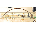 Click here to enlarge image and see more about item woodfishsign: Wooden Real Twig Fishing Shack Sign