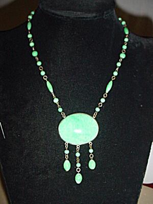Vintage Czechoslovakian Gr Glass Bead Pendant (Image1)