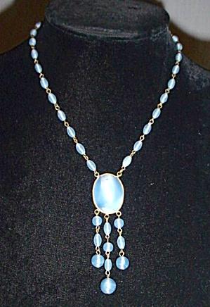 Vintage Blue Glass Fringe Pendant Czech (Image1)