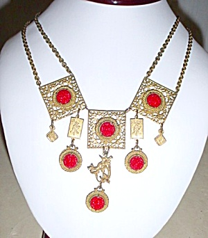 Unusual Vintage Cinnabar  Festoon Necklace  (Image1)