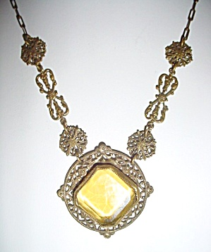 Vintage Filligree and Topaz Glass Necklace  (Image1)