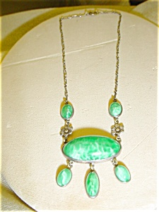 Art Deco Green Drop Silver Necklace (Image1)