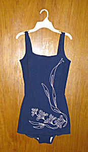 Navy Embroidered Swimsuit (Image1)