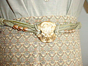 Green Cord and Gold tone Metal Decoration (Image1)