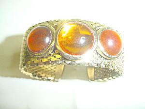 Vintage Mesh Goldtone Cuff Bracelet (Image1)
