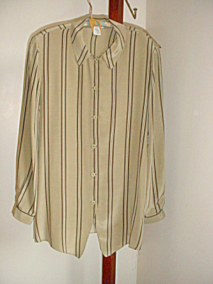 Georgio Armani Silk Green Striped Blouse (Image1)