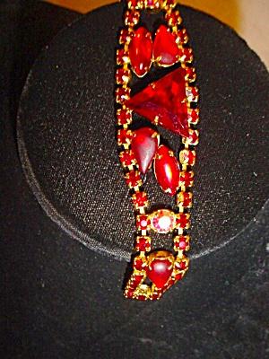 Vintage Red Rhinestone 1950's/60's Bracelet (Image1)