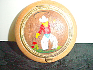 Vintage Wood Cowboy Compact Made In Usa