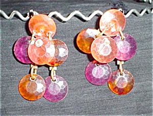 Multi-colored Plastic Dangly Clip Earrings (Image1)