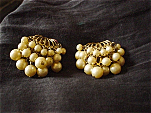 Off White Beaded Tiered Clip Earrings (Image1)