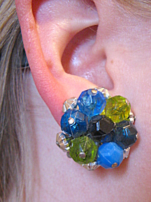 Blue and green beaded W. German clip earrings (Image1)