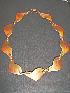 Vintage two tone copper deco necklace (Image1)