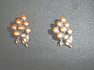 Vintage copper grape cluster earrings (Image1)