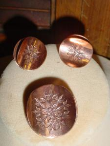 Signed Copper Pin and Earrings (Image1)