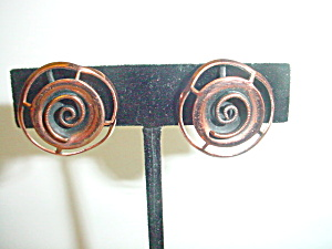 Vintage Copper Lacy Rose Screw-Back Earrings (Image1)