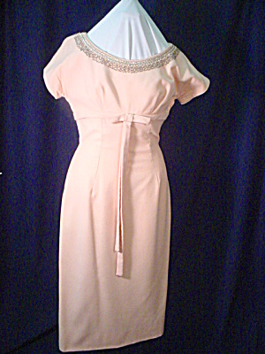 Pink Wool Empire Waist 1960's Party Dress (Image1)