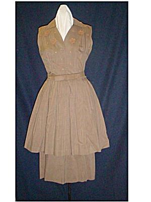 Fab 1950's Brown Sleeveless Dress w/Overskirt (Image1)