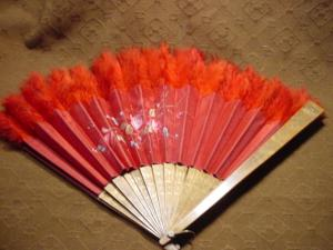 Victorian Red Satin Roses And Feathers Fan