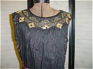 1920's Beaded Black and Pink Dress (Image1)