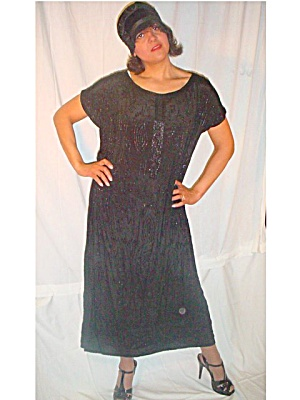 1920's Flapper French Full Beaded  Long Dress (Image1)
