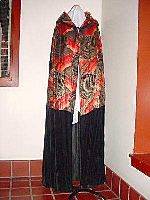 Vintage Deco Silk Velvet Brocade Lame Cape (Image1)