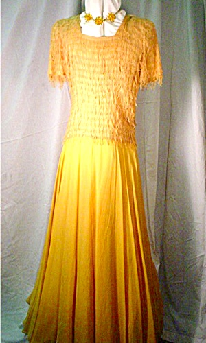 1940's Mustard Colored Evening Dress/Gown Fab (Image1)