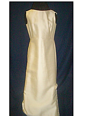 Classic 1960's Silk Linen Sheath Formal Gown (Image1)