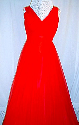 Vintage 1960's Red Flowing Evening Dress