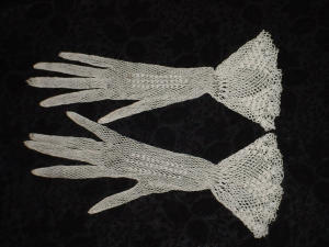White Tatted Gloves