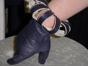 Navy Leather With Slit Cuffs