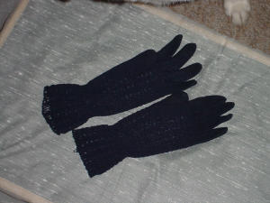 Navy Crochet Gloves