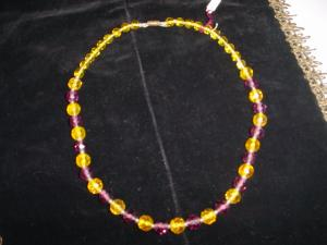 Purple and Yellow glass bead necklace (Image1)