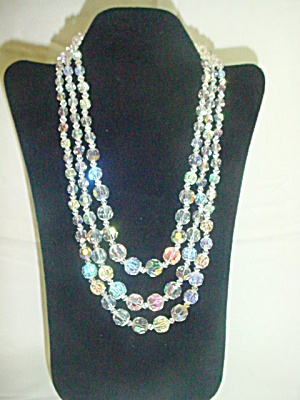 3-Strand Irridescent  Crystal Bead Necklace (Image1)