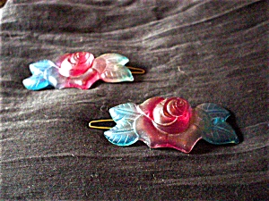 Pair of French Plastic Rose Barrettes (Image1)