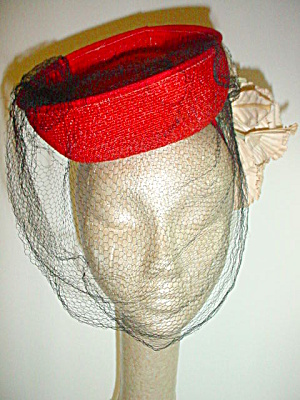 Vintage 1940's Red Tilt Hat with Flowers (Image1)