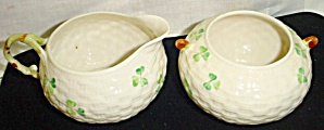 Belleek Shamrock Creamer and Sugar Set (Image1)