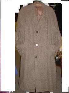 Vintage mens brown tweed topcoat (Image1)
