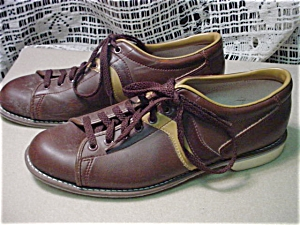 Mens Vintage Brown Bowling Shoes (Image1)