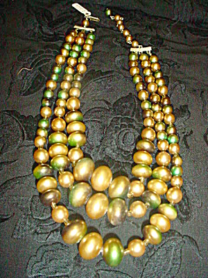 3-Strand Green, Gold, Beige Bead Necklace (Image1)