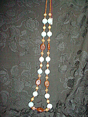 Multi-color Bead Necklace Turquoise Blue (Image1)