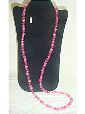 Long Pink Plastic Bead Necklace (Image1)