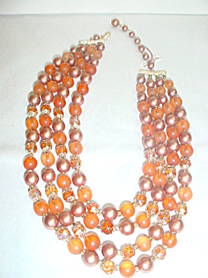 4 Strand  Browns Multi-Color Bead Necklace (Image1)