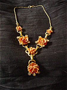 Coral and Gold Tone Rose Drop Necklace (Image1)