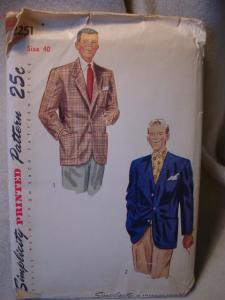 1950's Simplicity Men's Jacket Pattern (Image1)