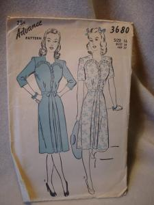 1940's Advance #3680 Dress pattern (Image1)