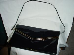 Black Vinyl Envelope Purse