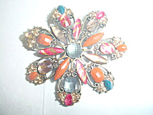 Unusual Brown And Grey Vintage Pin/brooch