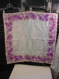 Oscar de la Renta Purple Floral Scarf (Image1)